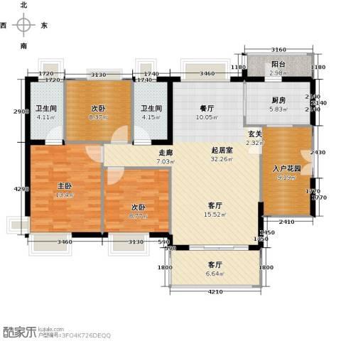 富力现代广场3室2厅2卫0厨122.00㎡户型图