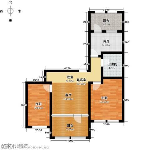 群力玫瑰湾2室0厅1卫1厨67.88㎡户型图