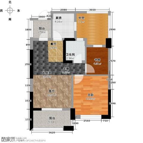 东海金沙T台3室2厅1卫0厨65.00㎡户型图
