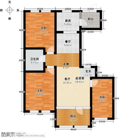 群力玫瑰湾3室0厅1卫1厨87.21㎡户型图