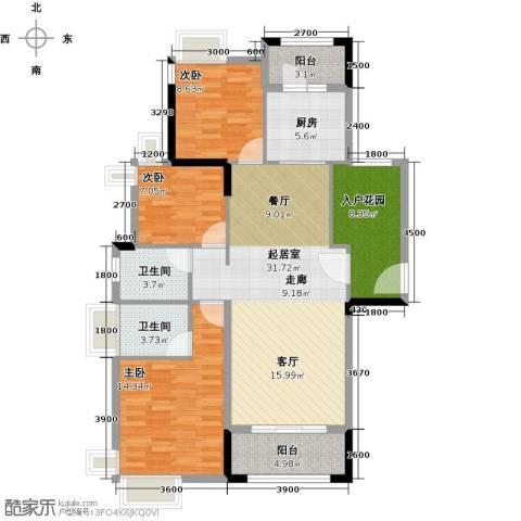 远洋城天祺3室2厅2卫0厨121.00㎡户型图