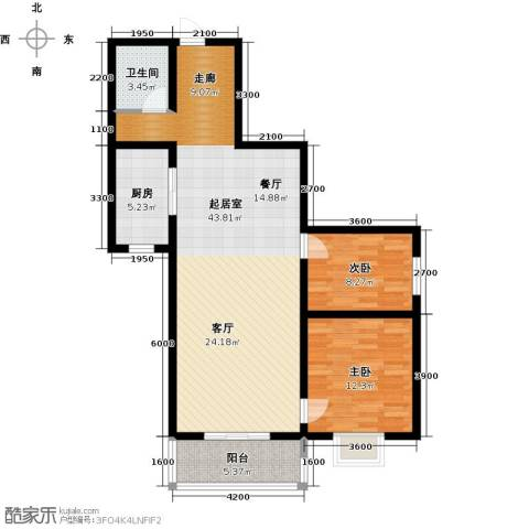 林河春天2室0厅1卫1厨107.00㎡户型图