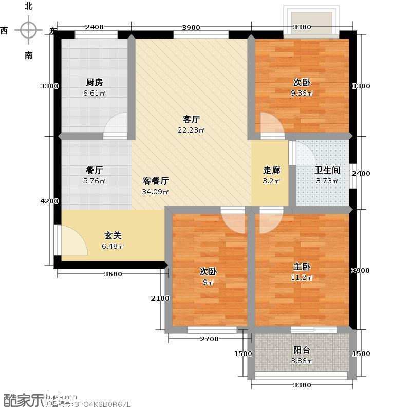 朝阳佳园114.10㎡C2-C户型3室2厅1卫