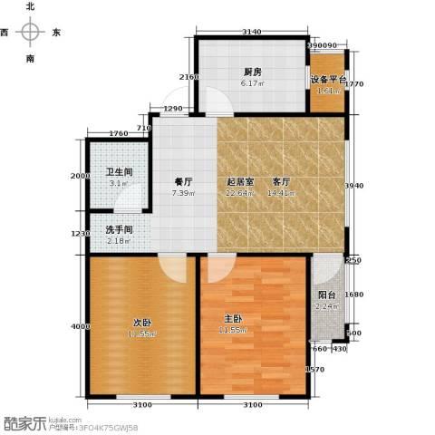 长堤湾2室2厅1卫0厨76.00㎡户型图