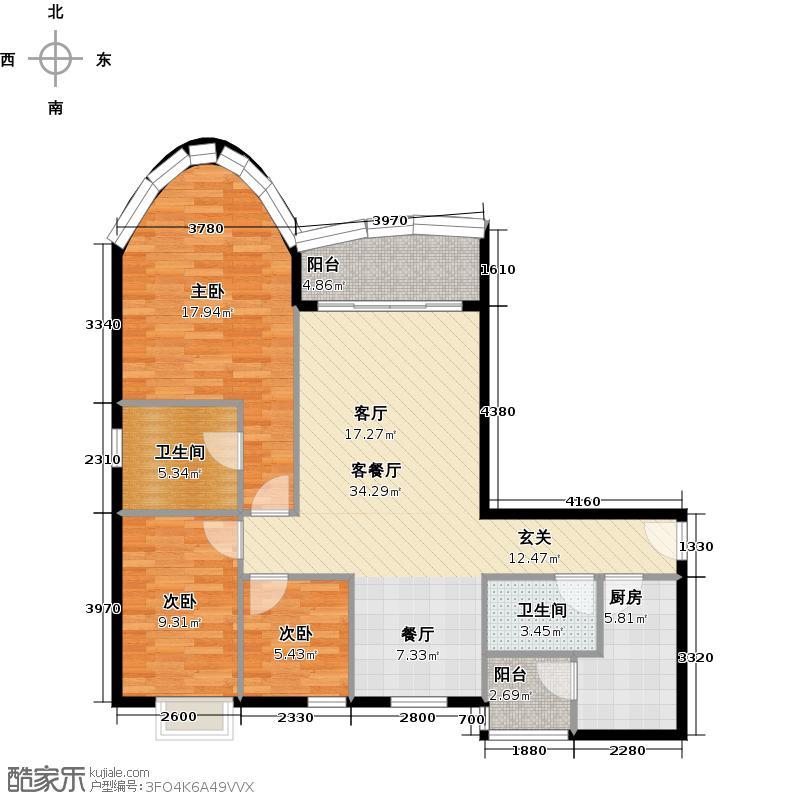 骏景花园117.00㎡西苑A型01户型3室1厅2卫1厨