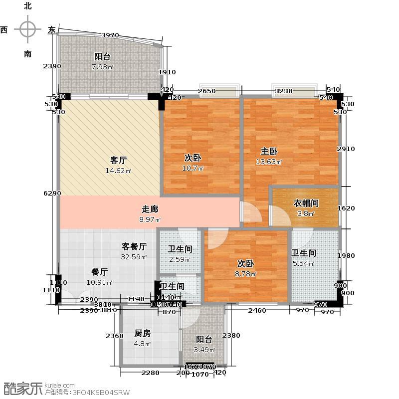 智杰雅筑104.49㎡雅逸轩1栋04单元户型3室2厅2卫