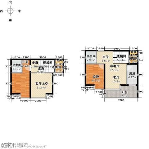 丽都新城二期爱丽香舍2室1厅2卫0厨89.00㎡户型图