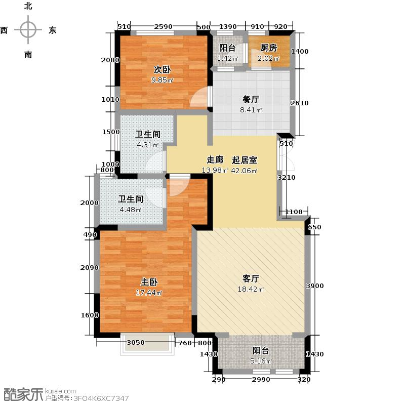 中交上东湾121.00㎡标准层I-01户型2室2厅2卫