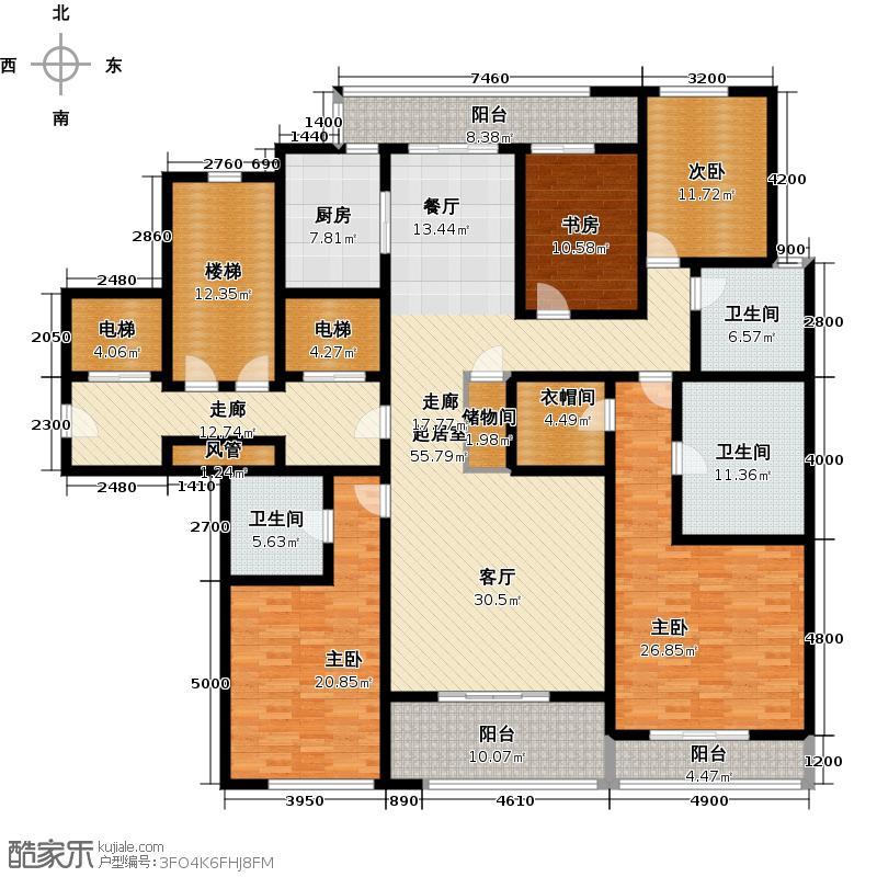 绿城西溪诚园229.00㎡7号楼中间套户型4室2厅3卫