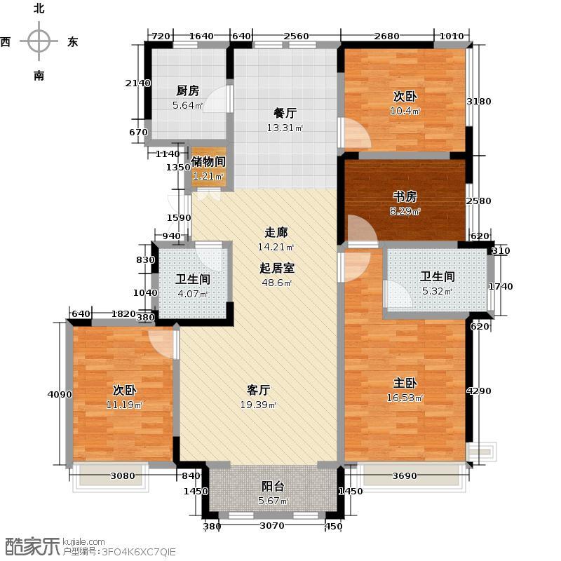 中交上东湾156.00㎡标层H-01户型4室2厅2卫