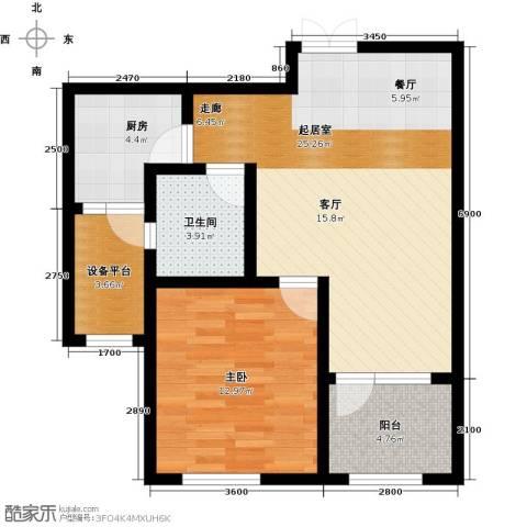 群力玫瑰湾1室0厅1卫1厨54.97㎡户型图