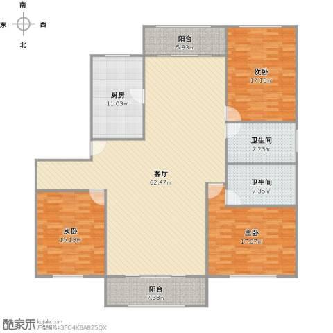 高桥新城荷兰新城3室1厅2卫1厨200.00㎡户型图