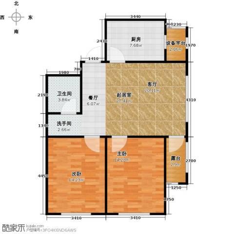 长堤湾2室2厅1卫0厨77.00㎡户型图
