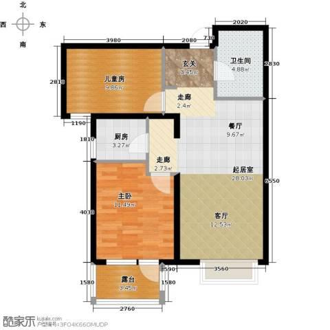 金隅・观澜时代2室2厅1卫0厨85.00㎡户型图
