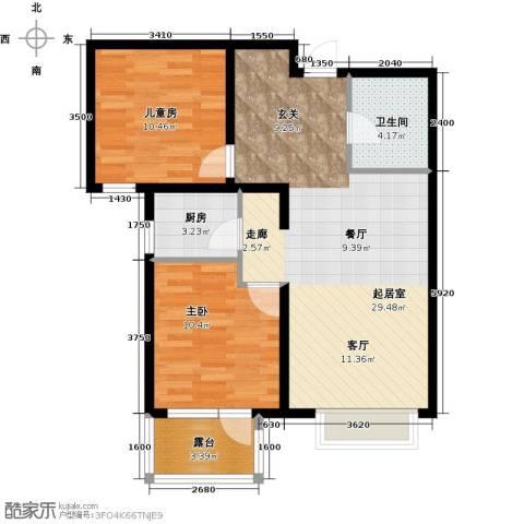 金隅・观澜时代2室2厅1卫0厨87.00㎡户型图