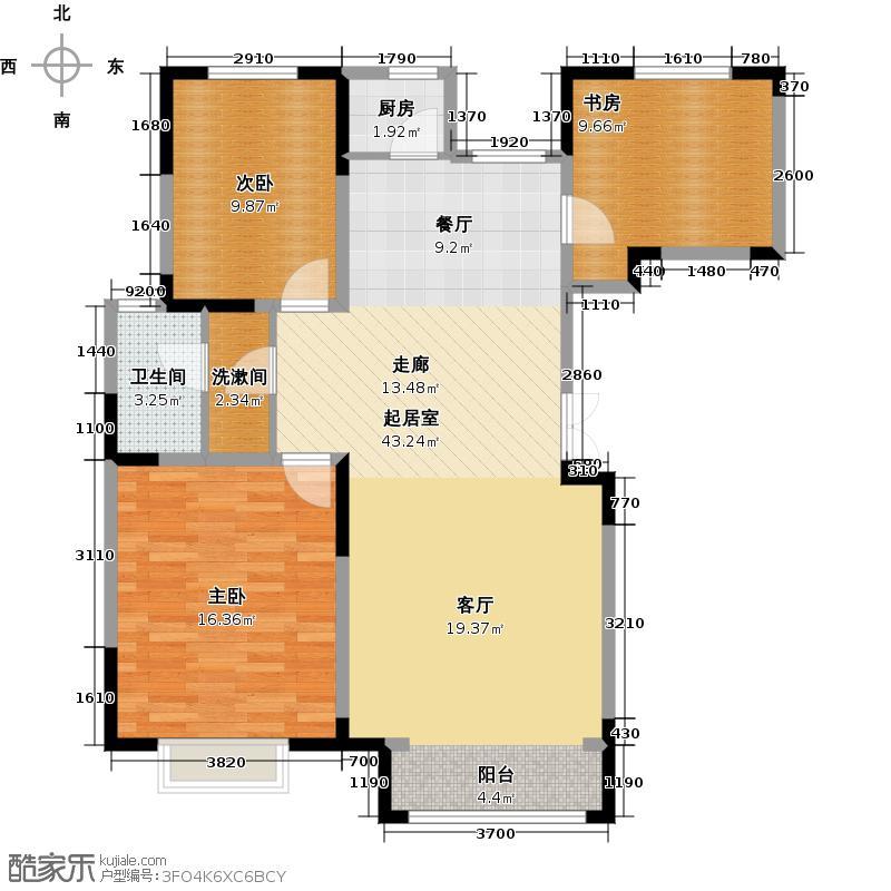 中交上东湾124.00㎡标层F-01户型3室2厅1卫