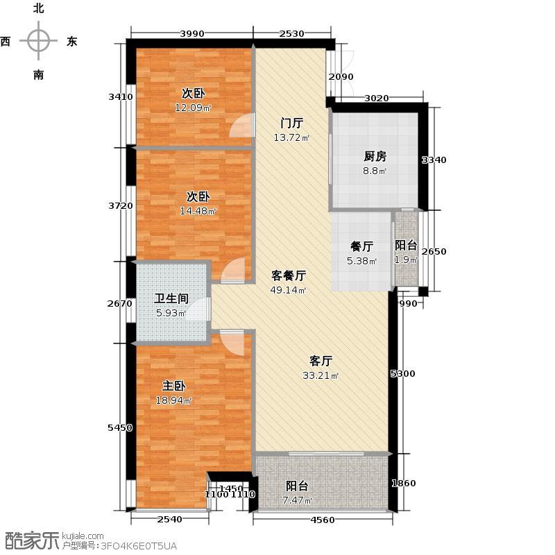 中贸广场122.80㎡户型3室2厅1卫