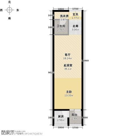 乐府国际公寓1室1厅1卫0厨62.00㎡户型图