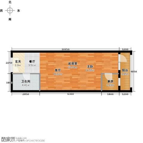乐府国际公寓1室1厅1卫0厨64.00㎡户型图