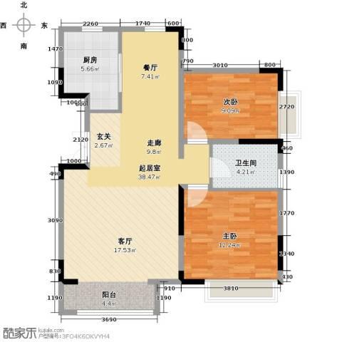 中交上东湾2室2厅1卫0厨100.00㎡户型图