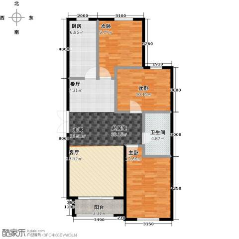 万通华府3室2厅1卫0厨115.00㎡户型图
