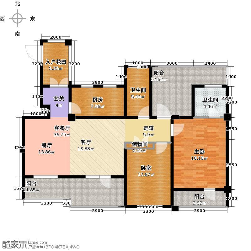 华茂中心119.00㎡洋房六层Q5户型2室2厅2卫
