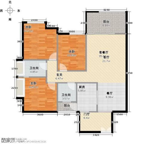 礼顿山1号3室1厅2卫1厨109.00㎡户型图