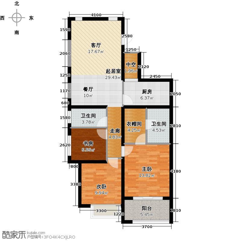 兴耀星悦湾120.00㎡A-8户型3室2卫1厨