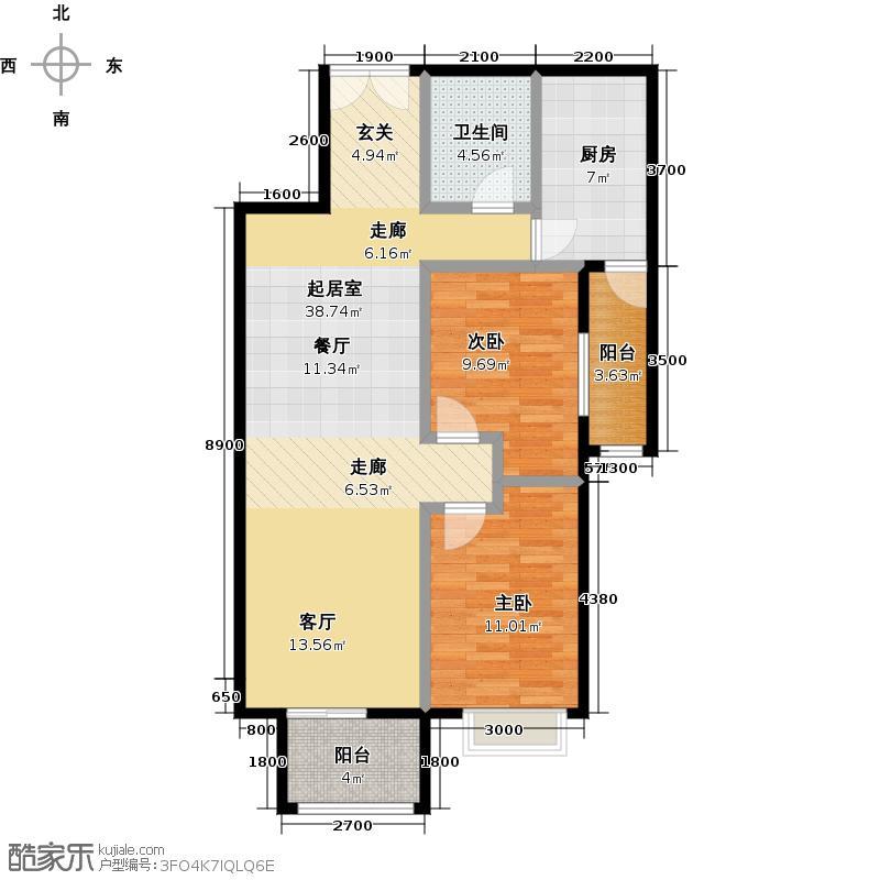 乐府国际公寓112.29㎡D1户型2室2厅1卫