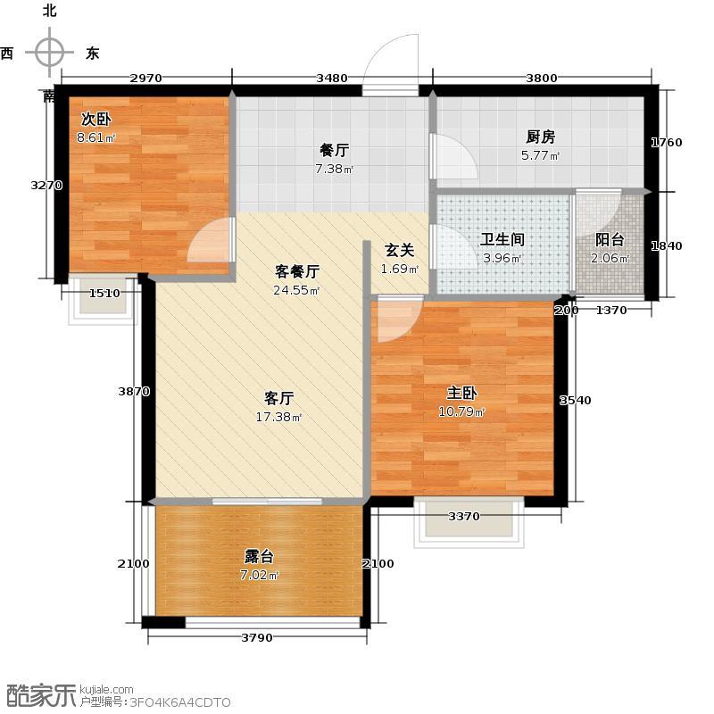 四季豪庭74.00㎡B-1奇数层户型2室2厅1卫