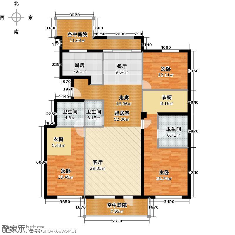 海棠公社170.00㎡G情景叠院户型3室3卫1厨