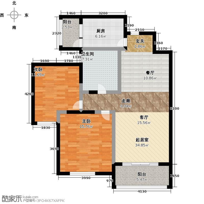 紫元阳光水榭95.00㎡小高层C3户型10室