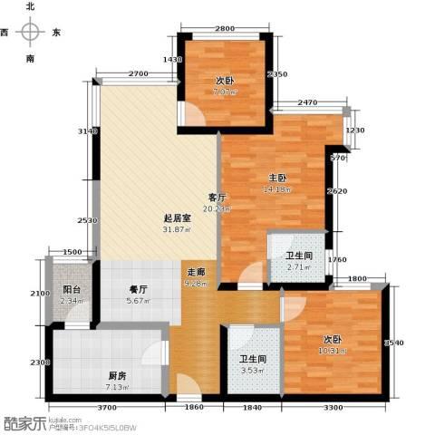 建发中央鹭洲3室2厅2卫0厨95.00㎡户型图