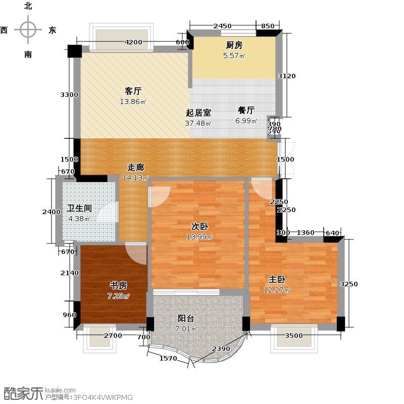 天阳美林湾108.18㎡户型3室1卫