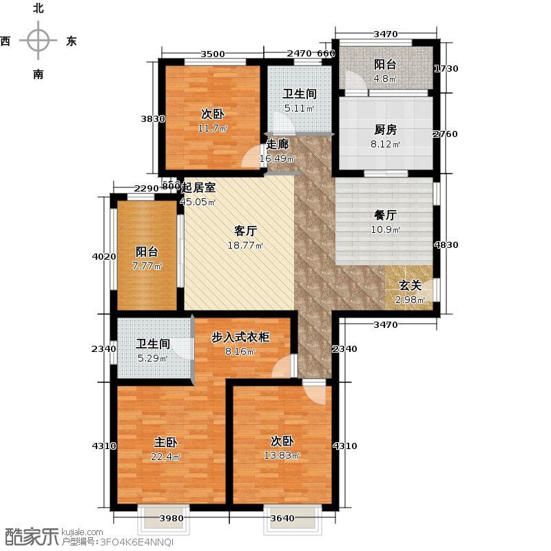新里梵尔赛公馆131.00㎡户型2室2厅2卫