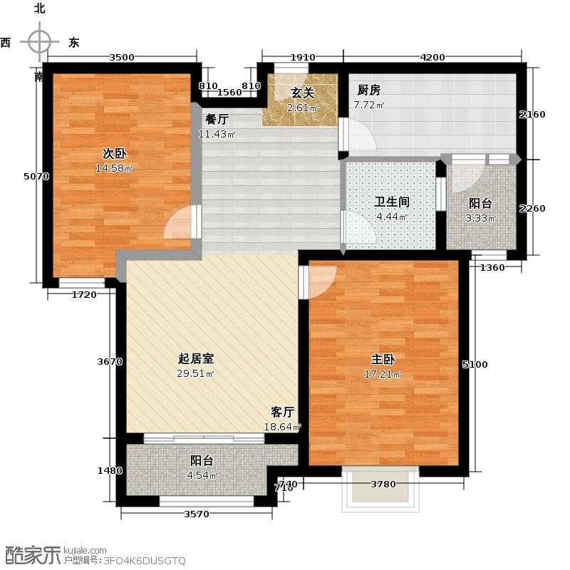 新里梵尔赛公馆87.00㎡户型2室2厅1卫
