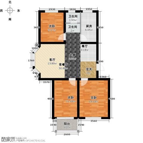 达美水岸3室2厅1卫0厨103.00㎡户型图