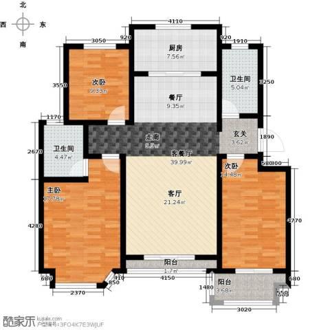 达美水岸3室2厅2卫0厨131.00㎡户型图