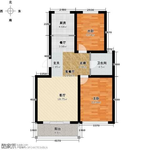 达美水岸2室2厅1卫0厨94.00㎡户型图