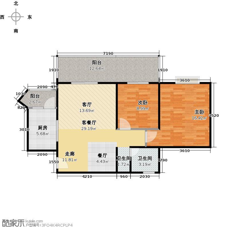 霏红榭85.59㎡一期5、6、9、10号楼奇数层B1户型2室1厅1卫1厨