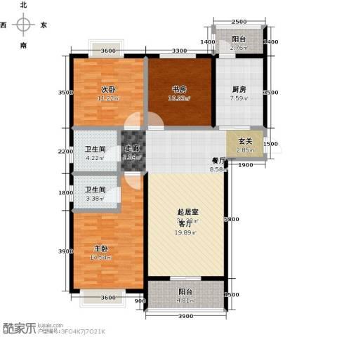 七里香格庄园3室2厅2卫0厨124.00㎡户型图