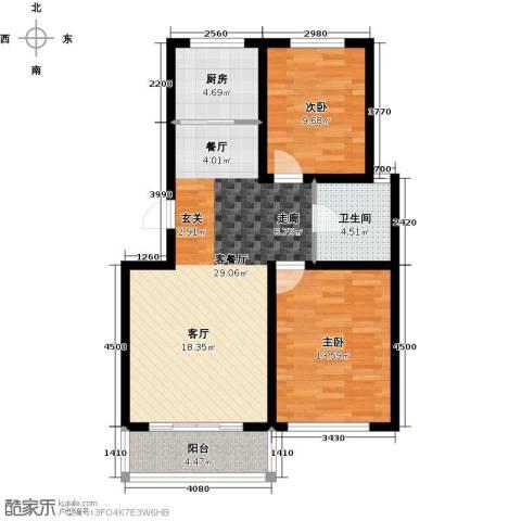 达美水岸2室2厅1卫0厨89.00㎡户型图