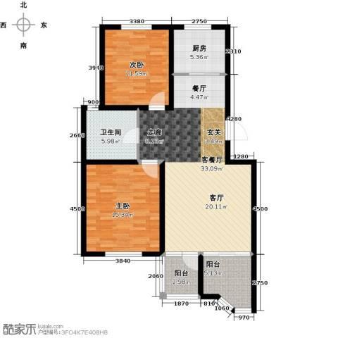 达美水岸2室2厅1卫0厨101.00㎡户型图