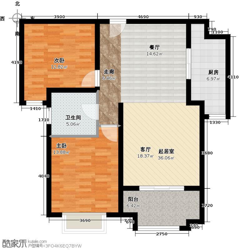 新里梵尔赛公馆91.00㎡户型2室2厅1卫
