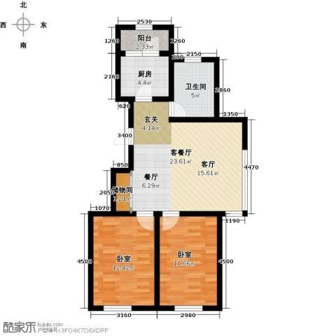韩建大成府2室2厅1卫0厨89.00㎡户型图