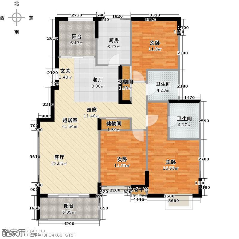太湖国际社区132.59㎡悦湖F户型3室2厅2卫