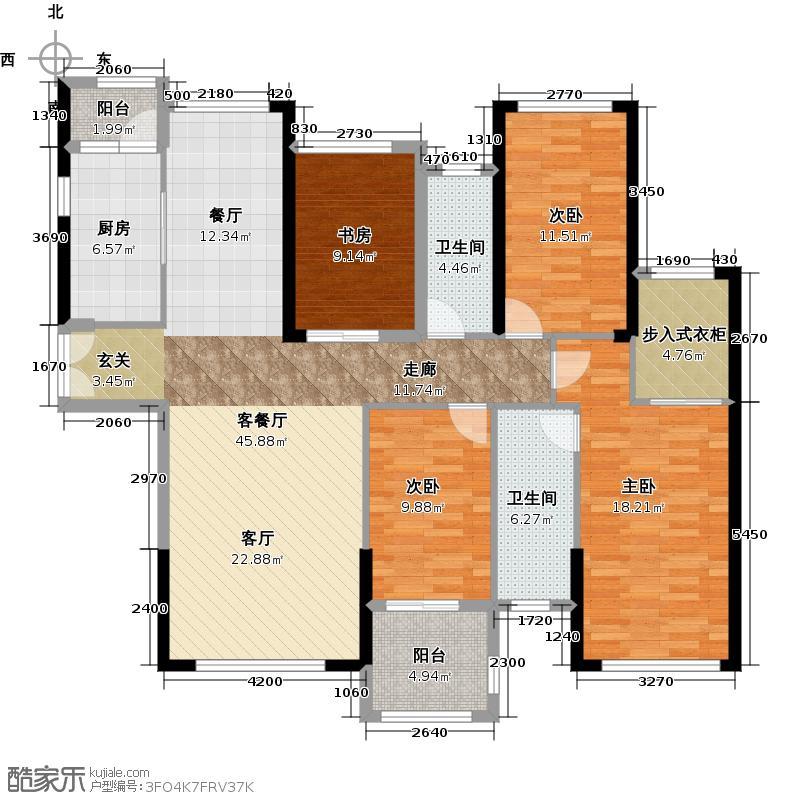 御湖湾135.00㎡单片A1-1户型4室2厅2卫