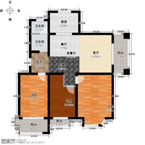 达美水岸3室2厅1卫0厨118.00㎡户型图