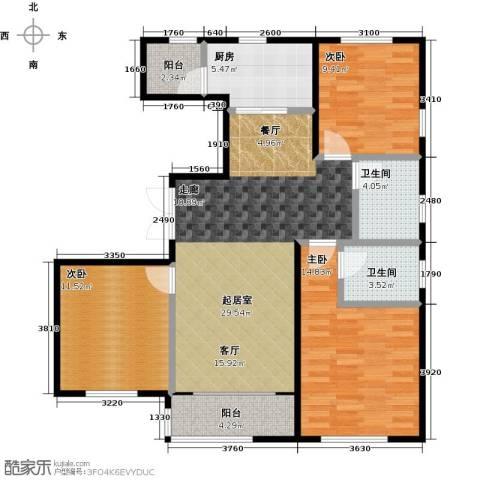 万通华府3室2厅2卫0厨121.00㎡户型图
