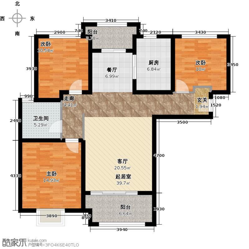 新里梵尔赛公馆109.00㎡户型3室2厅1卫